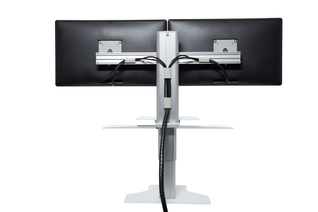 Dual Monitor Sit Amp Stand Workstation Silver White Complement